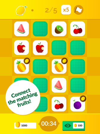 Connect the matching fruits!